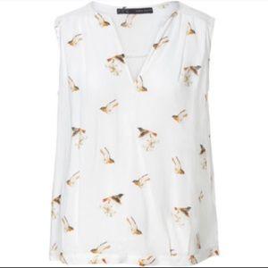 Zara White Bird Print Sleeveless Blouse